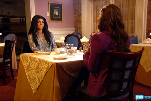 At least Jacqueline thinks to sit a bit back from the table waiting for a rage flip from Teresa.