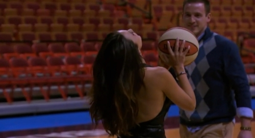 Brian carefully suggests Andi actually look at the basket before shooting the ball.